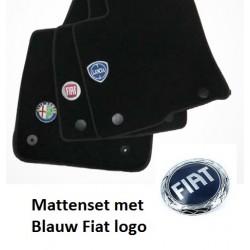 Mattenset Fiat Grande Punto blauw logo